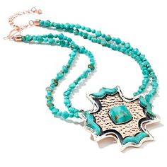 Jay King Turquoise Sterling Silver and Copper Cross Pendant.