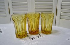 Vintage Amber Glass Tumbler Set of 3 Anchor by PanchosPorch