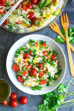 This Healthy Orzo Salad is so easy to make! Featuring fresh veggies and a speedy homemade cilantro lime dressing, you'll want to make this pasta salad again and again!