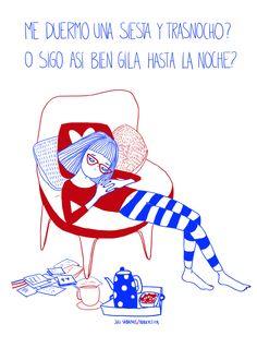 Textos de Juli Sabanes. Dibujos de Robertita. Fb/Tumblr: hicecualesquiera / Twitter: hicecualesquier #hicecualesquiera #julietasabanes #robertita #sueño #ilustracion #humor #fiaca #tetera #merienda #dormir #rojo #azul