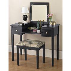 Black Vanity and Bench Set