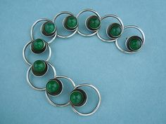 Vintage Sterling Silver Chrysoprase Bracelet Niels Erik from Denmark