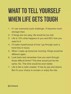 What to tell when things get tough
