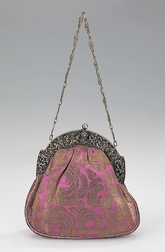 Purse, Evening  Date: 1920–29 Culture: French Medium: silk, metal, leather