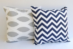 "Throw pillow covers set of two 18"" x 18"" storm gray Chipper Ikat and Navy Chevron zig zag. $32.00, via Etsy."