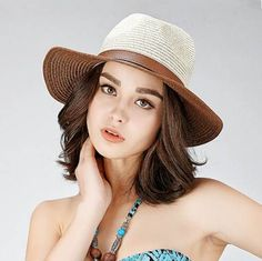 Womens wide brim panama hat with leather buckle holiday straw hats