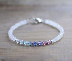 Multicolor Gemstone & Faceted Moonstone Bracelet with Sterling Silver or Gold Filled Beads, Delicate Beaded Aqua Blue Pink Gemstone Bracelet