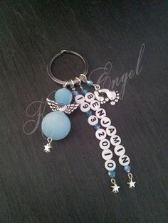 Weiteres - Schutzengel Anhänger Blau Wunschname+Datum  - ein Designerstück von Kreativ-Engel bei DaWanda