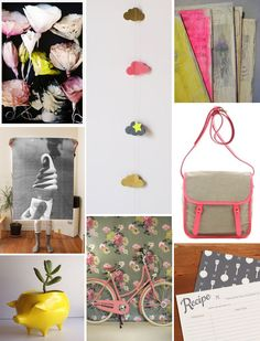 Poppytalk: It's a Pink, Chartreuse, Grey + Beige Day