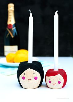 How insanely cute are these? DIY Mini Folk Candlesticks
