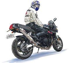 Motorcycle Images, Suzuki Motorcycle, Motorcycle Art, Bike Art, Character Art, Character Design, Bike Illustration, Cool Motorcycles, Car Drawings