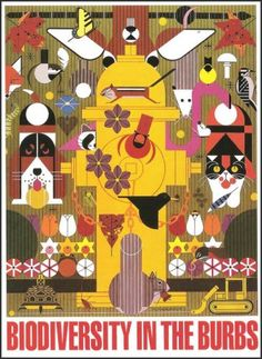 Biodiversity in the Burbs - Poster by Charley Harper. 1996