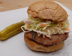 Turkey Burgers with Creamy Slaw Turkey Burgers, Salmon Burgers, Bacon Hot Dogs, Creamy Coleslaw, Cayenne Peppers, Ground Turkey, Ham, Spicy, Grilling