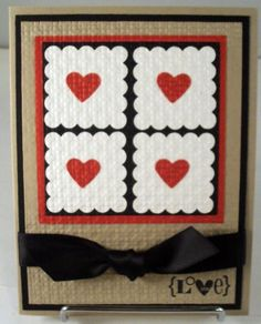 Red hearts in four squares, scallops, color scheme