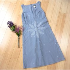 """J. CREW gray linen dress, 2 petite. Absolutely beautiful gray linen dress from J Crew. Tag says 2p, check measurements. Beautiful embroidered design, zippered, fully lined. Bust is 17"""" with allowance for more, waist 15"""", hips 17"""" with stretch, length 36"""". Clean, classy, fantastic condition. J. Crew Dresses Midi"""