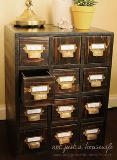 DIY card catalog from not just a housewife--I love what Stacy did!