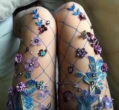 They're honestly fit for a goth fairy queen. They're honestly fit for a goth fairy queen. Sparkly Tights, Fishnet Tights, Fishnet Stockings, Nylons, Sparkly Clothes, Floral Tights, Pretty Clothes, Fairy Queen, Style Grunge