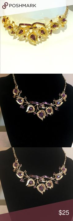 Vintage Coro faux amethyst necklace Coro vintage faux Amethyst and rhinestone statement necklace coro Jewelry Necklaces