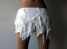 Torn white denim and tricot wrap mini skirt with by DreamWarriors
