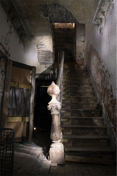 Staircase from another world in Grove House, Huddersfield -Skelmanthorpe, West Yorkshire, UK.
