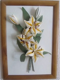 Картина, панно Квиллинг: Лилии-мои любимые цветы! Бумажные полосы. Фото 1