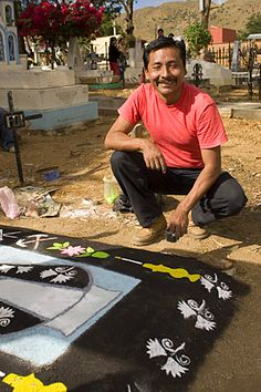 Day of the Dead Sand Painting Xoxo Cemetery Oaxaca