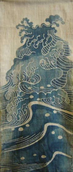 japanese waves: I love this style of waves. That mixed with a great ship and anchor and some text intertwined could be an amazing tattoo Japanese Textiles, Japanese Patterns, Japanese Prints, Japanese Fabric, Japanese Design, Japanese Style, Illustrations, Illustration Art, Japanese Waves