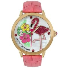 Betsey Johnson Flowers And Flamingo Watch ($75) ❤ liked on Polyvore featuring jewelry, watches, pink, betsey johnson, pink jewelry, crystal jewelry, colorful watches and colorful jewelry