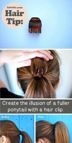 Of The Best Hair Tips and Tricks (With Pictures) TIP:: Fake a fuller ponytail! 20 of the BEST Hairstyle and Beauty TipsTIP:: Fake a fuller ponytail! 20 of the BEST Hairstyle and Beauty Tips Fuller Ponytail, Voluminous Ponytail, Fuller Hair, Puffy Ponytail, Ponytail Bump, Corte Y Color, Tips Belleza, Hair Tutorials, Beauty Hacks