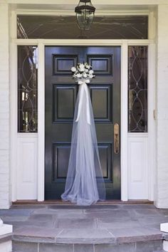 engagement party ideas decorations Front door greeting for a bridal shower that takes its inspiration from the bridal veil. See more bridal shower decorations and party ideas at Bridesmaid Brunch, Bridesmaids, Bridesmaid Duties, Before Wedding, Bridal Shower Party, Wedding Showers, Bridal Luncheon, Bridal Shower Chair, Bridal Shower Sayings