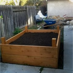 Raised bed garden box. Made from Douglas Fir 2x12s and 4x4s then waterproofed with Thompson's
