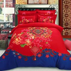Fabric: Cotton Pattern: Auspicious, Floral Notice: The price includes one sheet, one quilt cover and two pillow slips. Linen Bedding, Bedding Sets, Bed Linens, Japanese Style Bedroom, Wood Bedroom, Bed Styling, Quilt Cover, Chinese Style, Dorm Room