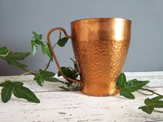 Vintage Hammered Copper Mug // Moscow Mule Cup Hammered Copper Mugs, Brass, Moscow Mule Cups, Etsy, Vintage, Vintage Comics, Rice