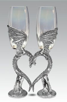 Clear Dragon Wing Heart Champagne Glasses (opal glasses, shown, are no longer available due to quality control issues)