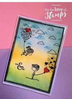 Good Morning all,    This my card I made with the new collection 'For the love of stamp' by Hunkydory.   I created the background by stamp...
