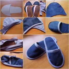 Jeans that we all have at our home. Some old and favorites jeans. Our comfortable, stylish, elegant and fit just right pair of blue jeans. Shoe Crafts, Sewing Crafts, Sewing Projects, Diy Clothes Jeans, Sewing Clothes, Sewing Tutorials, Sewing Patterns, Sewing Slippers, Denim Ideas