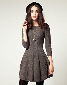 Hobbs Hills Knit Dress With Skater Skirt $150