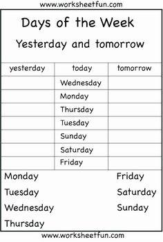 Morning Worksheets for Kindergarten Lovely Days the Week Worksheets First Kindergarten Free Morning