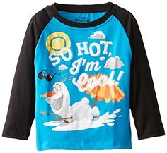 Disney Little Boys Toddler Frozen Olaf So Hot Im Cool Toddler Raglan TShirt Blue 2T *** Find out more about the great product at the image link.Note:It is affiliate link to Amazon.
