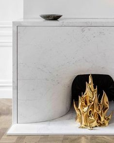 """/ """"Cheminée"""", by French designer Mathieu Lehanneur. Marble Fireplaces, Modern Fireplace, Fireplace Mantle, Fireplace Surrounds, Fireplace Design, Cottage Fireplace, Floating Fireplace, Country Fireplace, Craftsman Fireplace"""