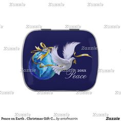 Peace on Earth . Peace Dove Christmas Design Tins with Jelly Belly™ Candy. Matching greeting cards, postage stamps and other products available in the Christmas & New Year Category of the artofmairin store at zazzle.com