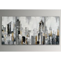 Painting Multi-Piece Image on Canvas East Urban Home Skyline Painting, City Painting, House Painting, Painting Prints, Dragon Artwork, City Scene, Abstract Art, Canvas Art, Photos