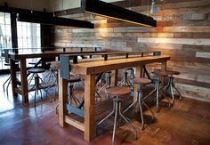 Restaurant Interior love the light boxes and pallet wood walls ( for interest to contrast with exposed brick