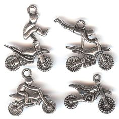 ONE SET 4 Silver Plated Charms MOTOCROSS by intothewoodscharms, $3.45
