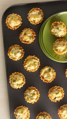 Need an easy appetizer for a holiday crowd? This big-batch crab bite recipe makes 45 servings, so you'll be sure to have enough for the whole gang. Garnish each bite with half of a cherry tomato or a sprig of parsley for a nice pop of color. Look for the mini-fillo dough shells in the frozen pastry section of your supermarket.