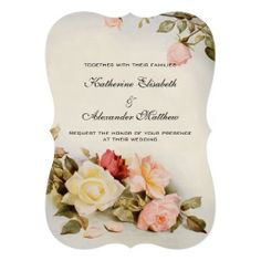 Wedding invitations with bracket edges featuring antique garden roses in pink, red and yellow.