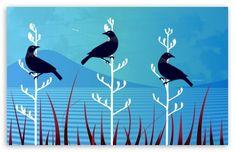 Tui Birds HD Wallpaper for UHD Widescreen desktop & smartphone Hd Wallpaper, New Zealand Art, Bird Design, Maori Art, Wallpaper, Art, Bird Wallpaper, Print Inspiration, Nz Art