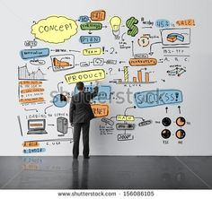 businessman drawing business concept in office - stock photo