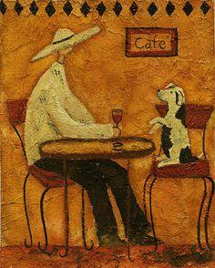 Animal Folk Art Paintings | Hubbs Art Folk Prints Whimsical Animals Begging Dog Pet Italy Tuscany ...