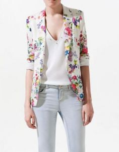 #SheInside White Casual Collarless Long Sleeve Floral Single Button Suits - Sheinside.com